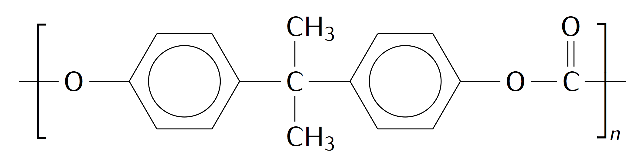 Poly(carbonate), drawn using chemfig (LaTeX)