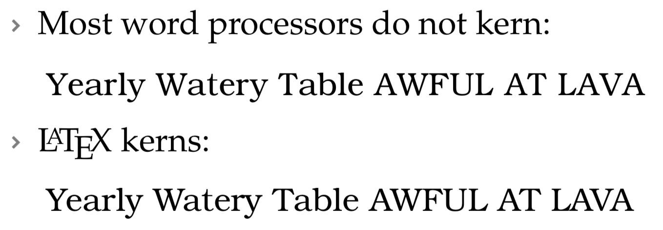 "Kerning example ""Yearly Watery Table AWFUL AT LAVA"""
