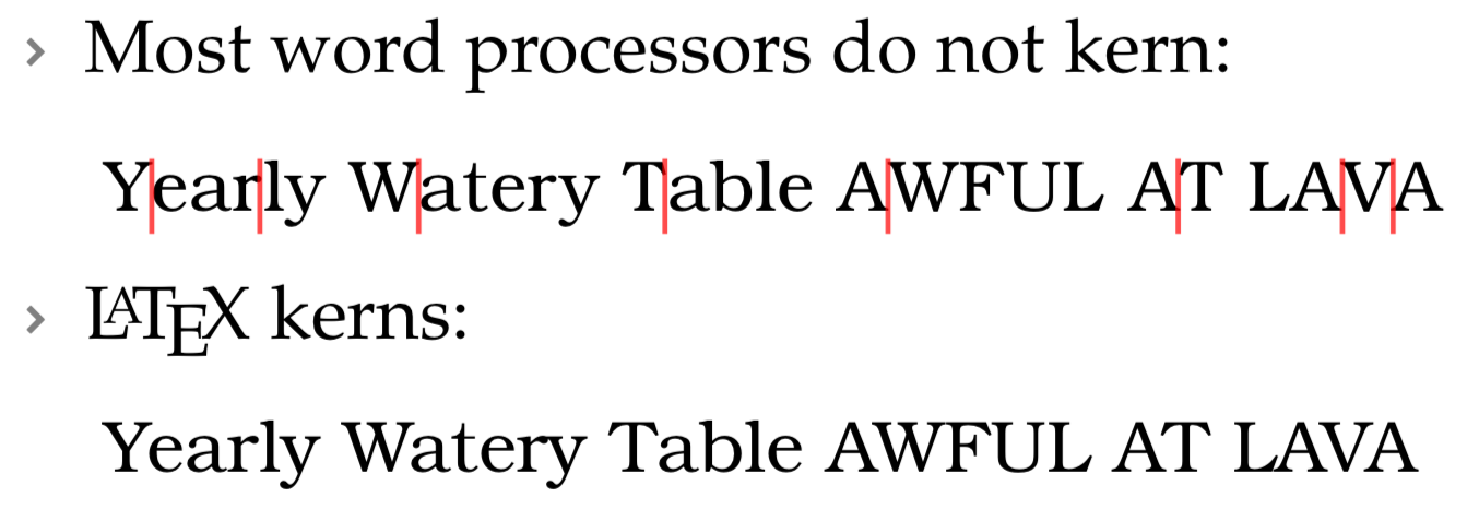 "Kerning example with red lines ""Yearly Watery Table AWFUL AT LAVA"""
