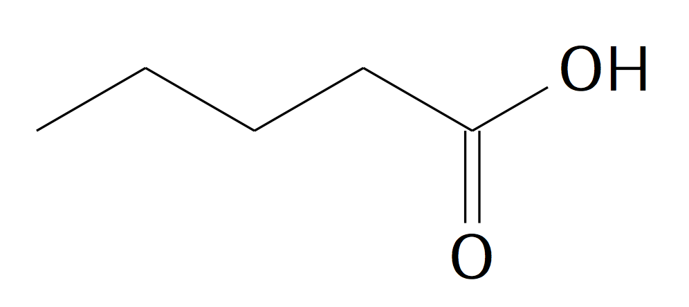 "Structure of pentanoate, typeset by the LaTeX package ""chemfig"""